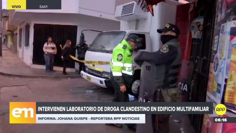 Los policías intervinieron a cinco personas, entre ellas una mujer, en el laboratorio clandestino.