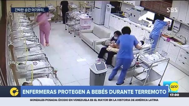Momento en que un sismo sacudió Corea del Sur y cómo las enfermeras actuaron en hospital.