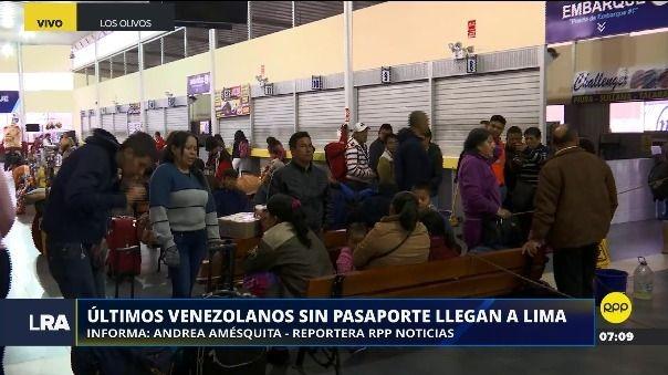 Los últimos ciudadanos venezolanos sin pasaporte van llegando a la capital procedente de Tumbes.