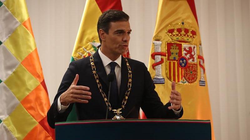 El presidente del Gobierno español, Pedro Sánchez, durante un evento en Santa Cruz (Bolivia).