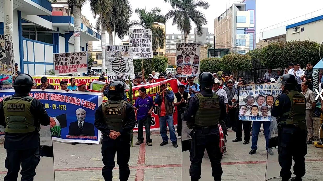 Protesta de jubilados de empresa Pomalca.
