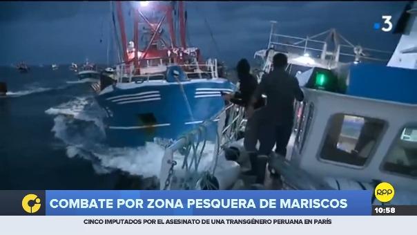 Barcos franceses y británicos protagonizaron pelea por zona pesquera de mariscos.