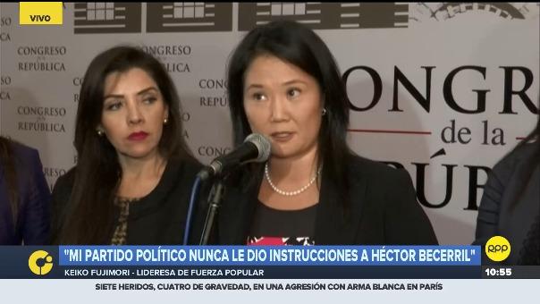 Keiko Fujimori sobre contratación de José Luis Cavassa por el partido Peruanos por el Kambio.