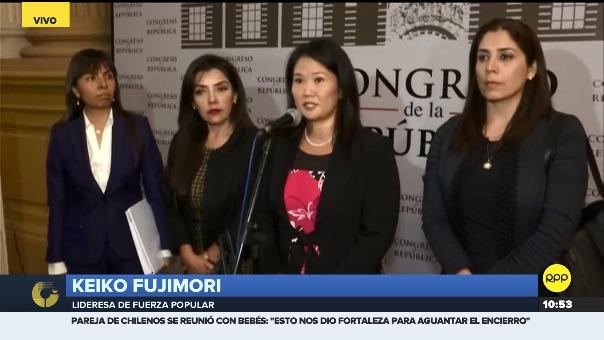 Keiko Fujimori declara a la prensa tras sesión en Subcomisión de Acusaciones Constitucionales.
