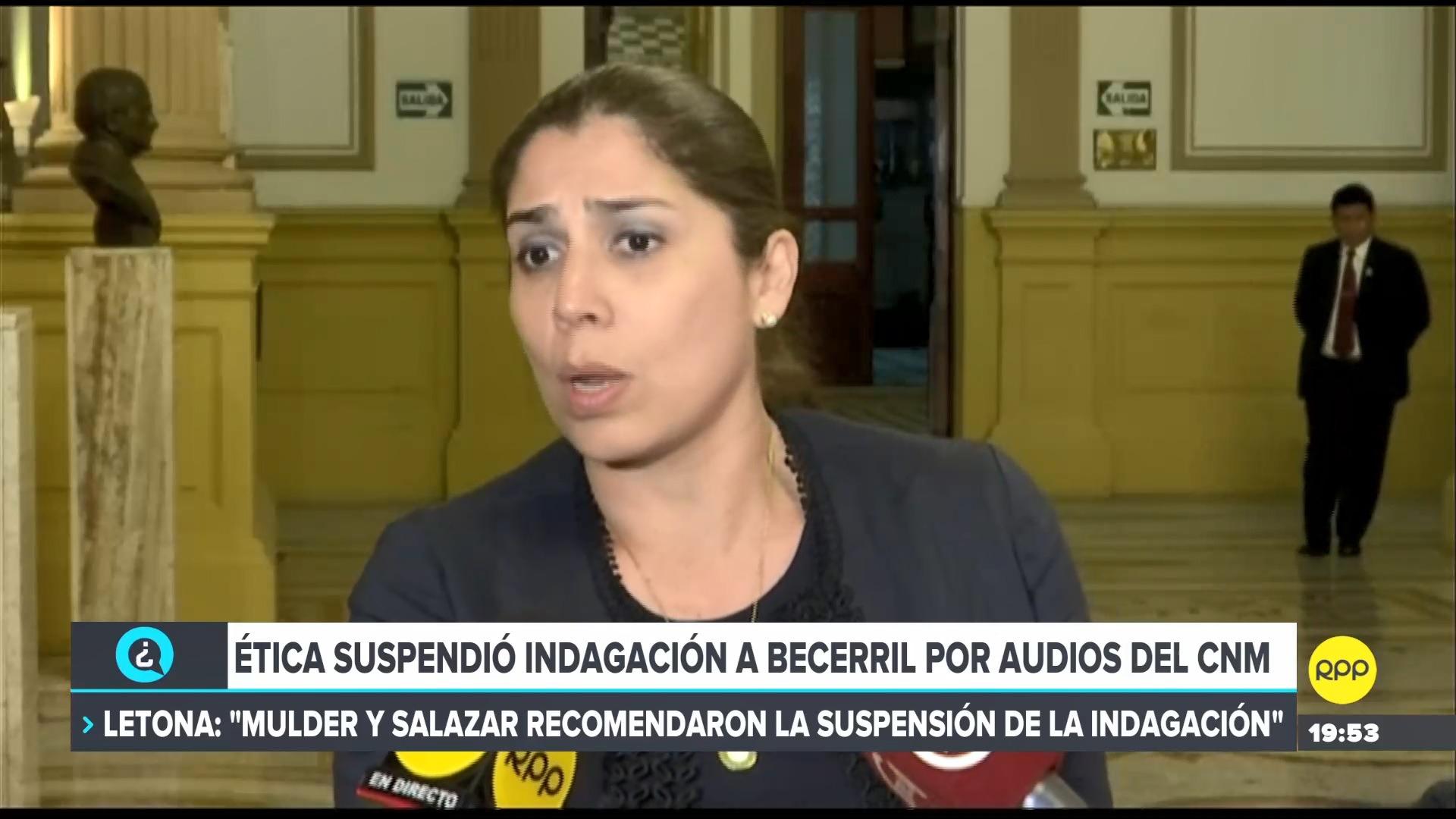 La parlamentaria comentó que la suspensión fue planteada por los parlamentarios Mauricio Mulder (APRA) y Milagros Salazar (Fuerza Popular).