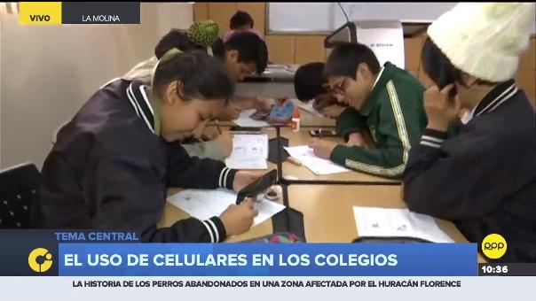El uso de celulares en los colegios.