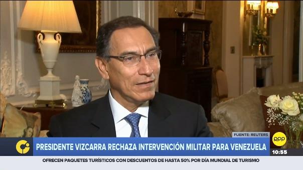 Presidente Vizcarra rechaza intervención militar para Venezuela.