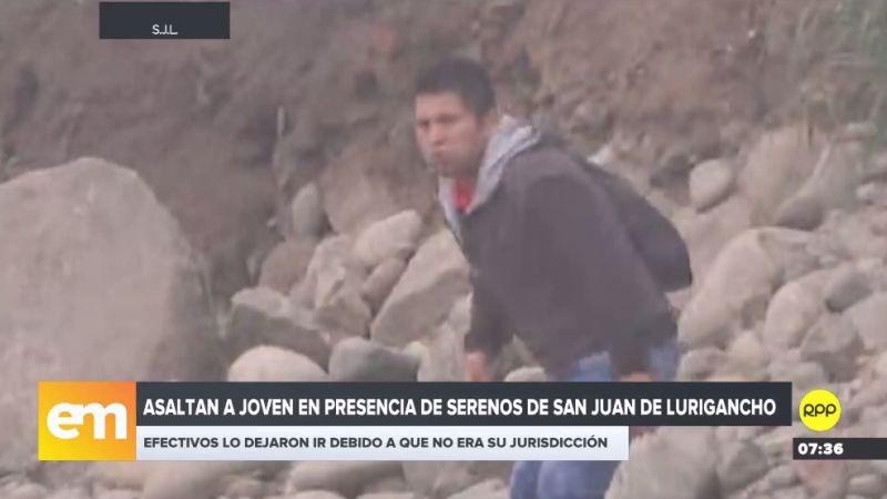 Las cámaras de RPP Noticias lograron grabar al delincuente huyendo por la orilla del río Rímac.