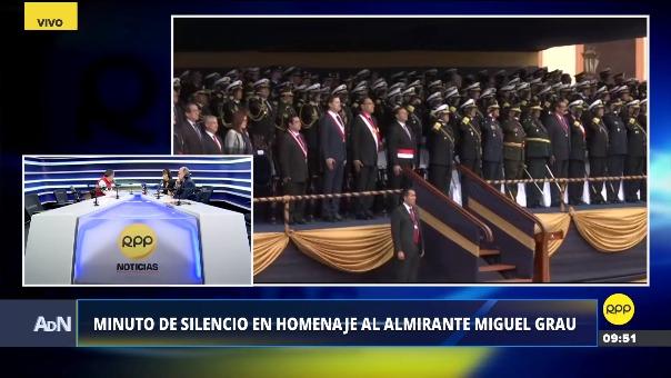 El minuto de silencio en homenaje al almirante Miguel Grau a las 9:50 de la mañana.