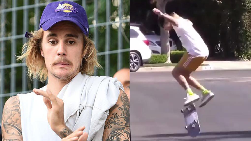 Justin Bieber fue captado patinando con su skate en su nuevo vecindario en Los Ángeles.