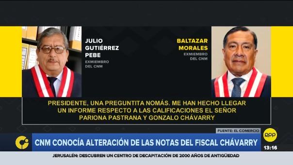 Baltazar Morales comenta sobre presunta alteración en la calificación de Pedro Chávarry durante la evaluación de este.