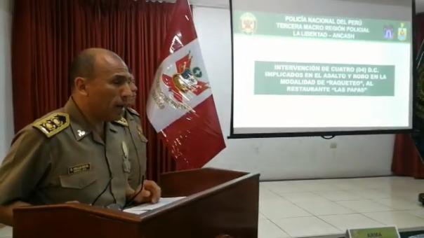 El general PNP, César Vallejo, dio a conocer los resultados del operativo.