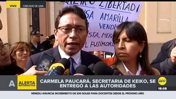 Humberto Abanto, abogado de Carmela Paucará, y Guiliana Loza, abogada de Keiko Fujimori.