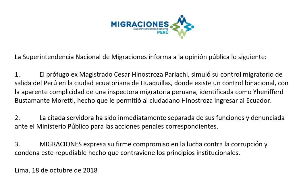 Comunicado de la Superintendencia Nacional de Migraciones sobre la fuga de César Hinostroza.