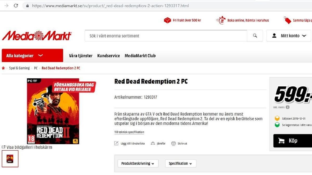 La tienda Media Markt abrió la reserva para una posible versión para PC de Red Dead Redemption 2.