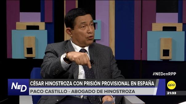 Paco Castillo, abogado de César Hinostroza, en entrevista con RPP Noticias.