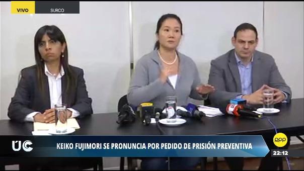 Keiko Fujimori se pronunció sobre el pedido de 36 meses de prisión preventiva en su contra.