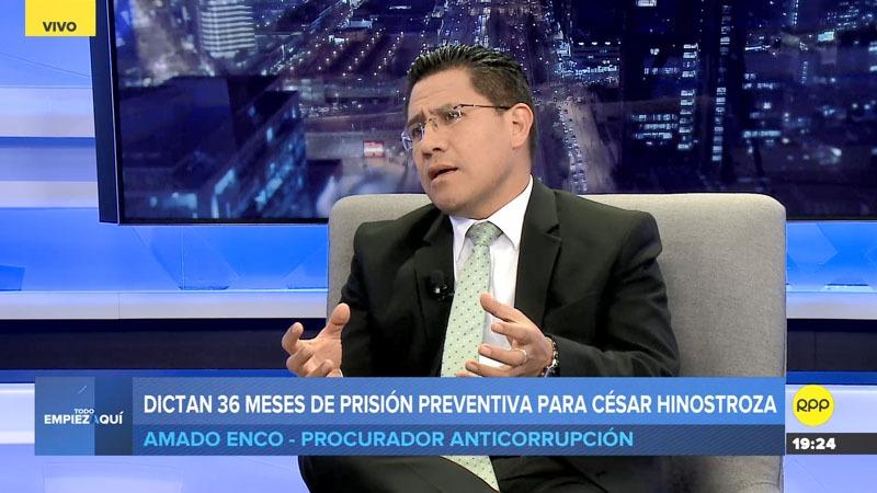 El procurador anticorrupción comentó que la prisión preventiva dictada contra Hinostroza corresponde a la situación actual del caso.