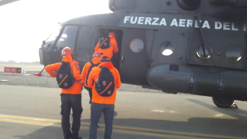 Traslado de los sensores de la estación fueron trasladados con la ayuda de la Fuerza Aérea del Perú.