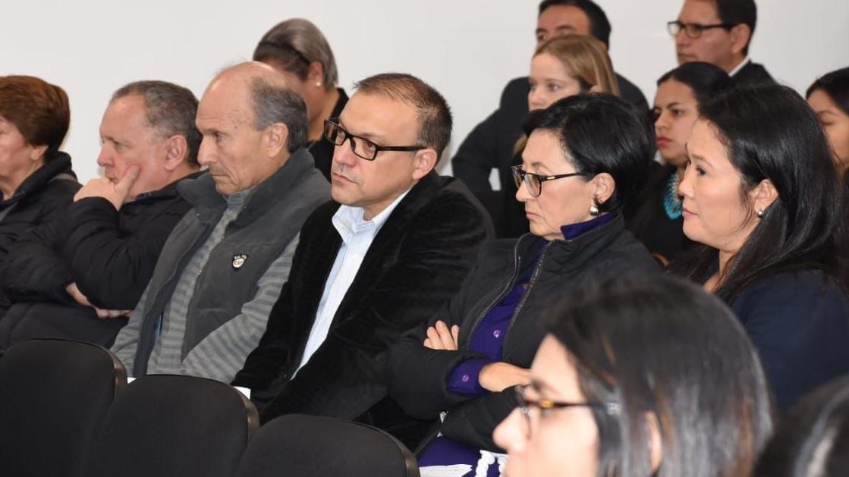 Vicente Silva Cheva (primero de izquierda a derecha) junto a Augusto Bedoya, Pier Figari, Ana Herz y Keiko Fujimori durante la audiencia de prisión preventiva.