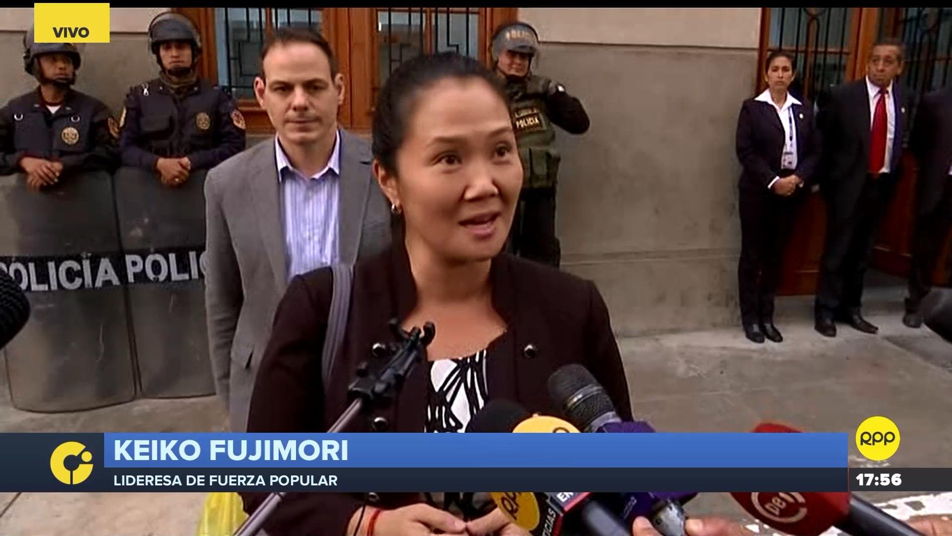 La lideresa de Fuerza Popular asistió al quinto día de audiencias en las que se evalúa la prisión preventiva pedida en su contra.