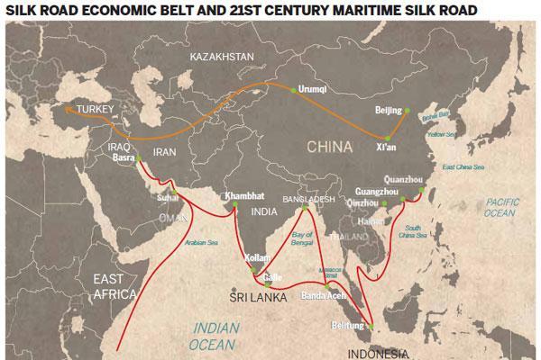 Las conexiones que China planea con la Franja y la Ruta.