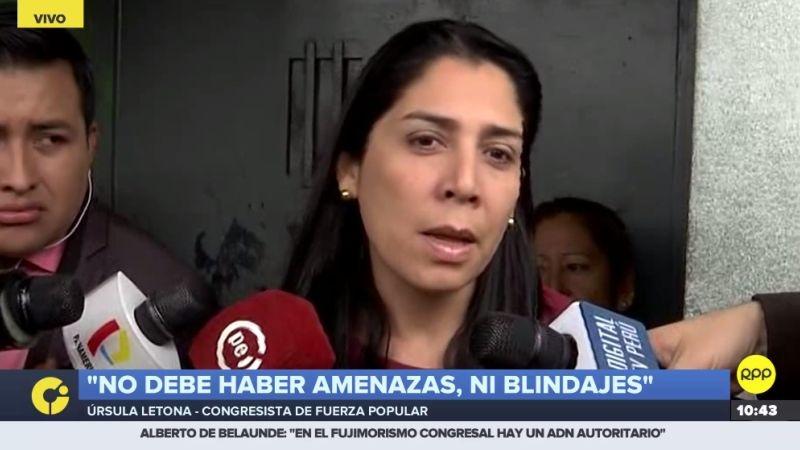 Úrsula Letona habló con la prensa tras reunirse con Keiko Fujimori en la prisión.
