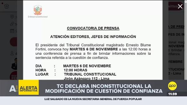 TC declaró inconstitucional la modificación de la cuestión de confianza.