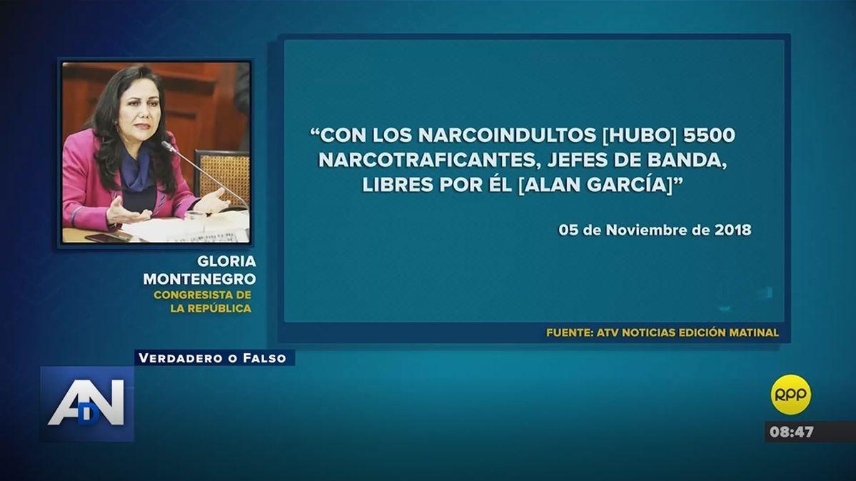La afirmación de Gloria Montenegro.