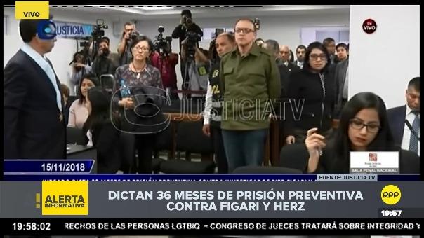 Juez Richard Concepción lee fallo de prisión preventiva para Pier Figari y Ana Herz.