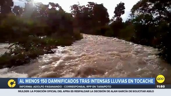 Fuertes lluvias se registran en San Martín.