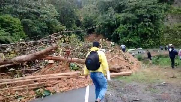 """Se registró el derrumbe de un cerro sobre la carretera Fernando Belaúnde Terry en el sector """"Palo Blanco""""."""