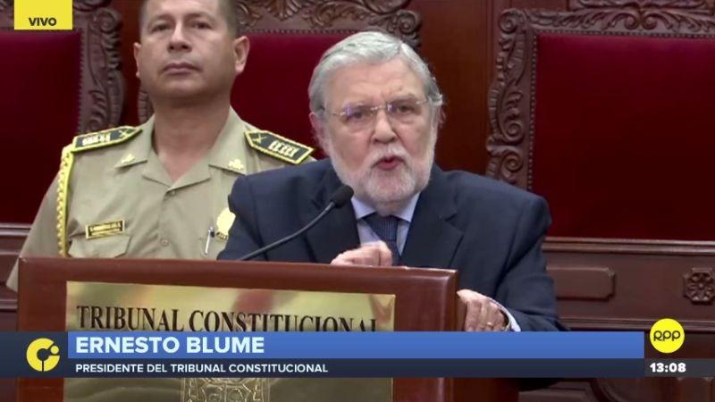 """Ernesto Blume dijo que el TC sentó """"estándares que deben cumplirse"""" sobre la aplicación de la prisión preventiva."""
