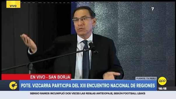 El presidente Martín Vizcarra asistió este viernes  a la clausura del XIII Encuentro Nacional de Regiones.