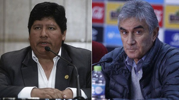 Edwin Oviedo y Juan Carlos Oblitas en la FPF.