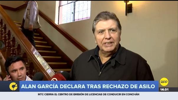 Alan García declaró luego de que Uruguay le negó asilo.
