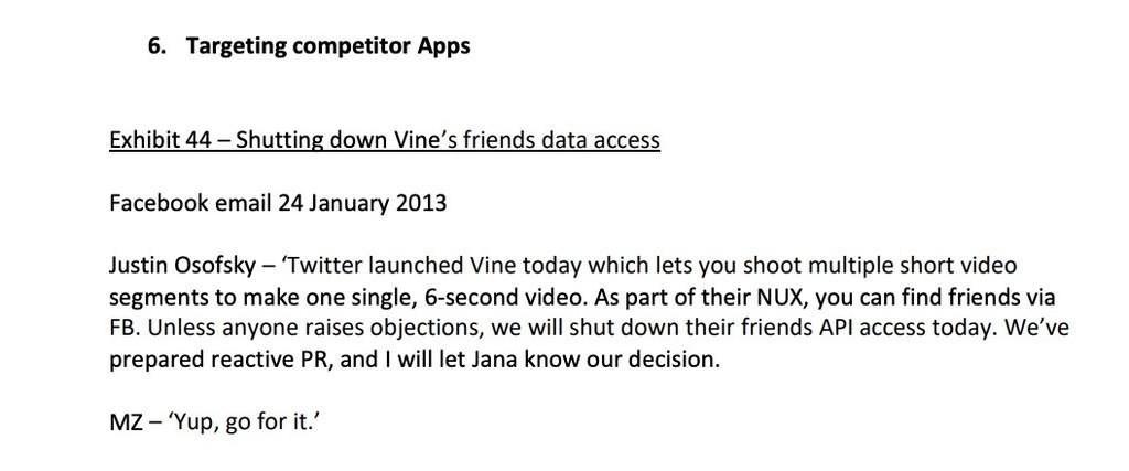 Uno de los correos exhibidos como prueba en un juicio. Facebook corta el acceso a Vine.