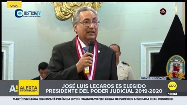 Mensaje del nuevo presidente del PJ, José Luis Lecaros.