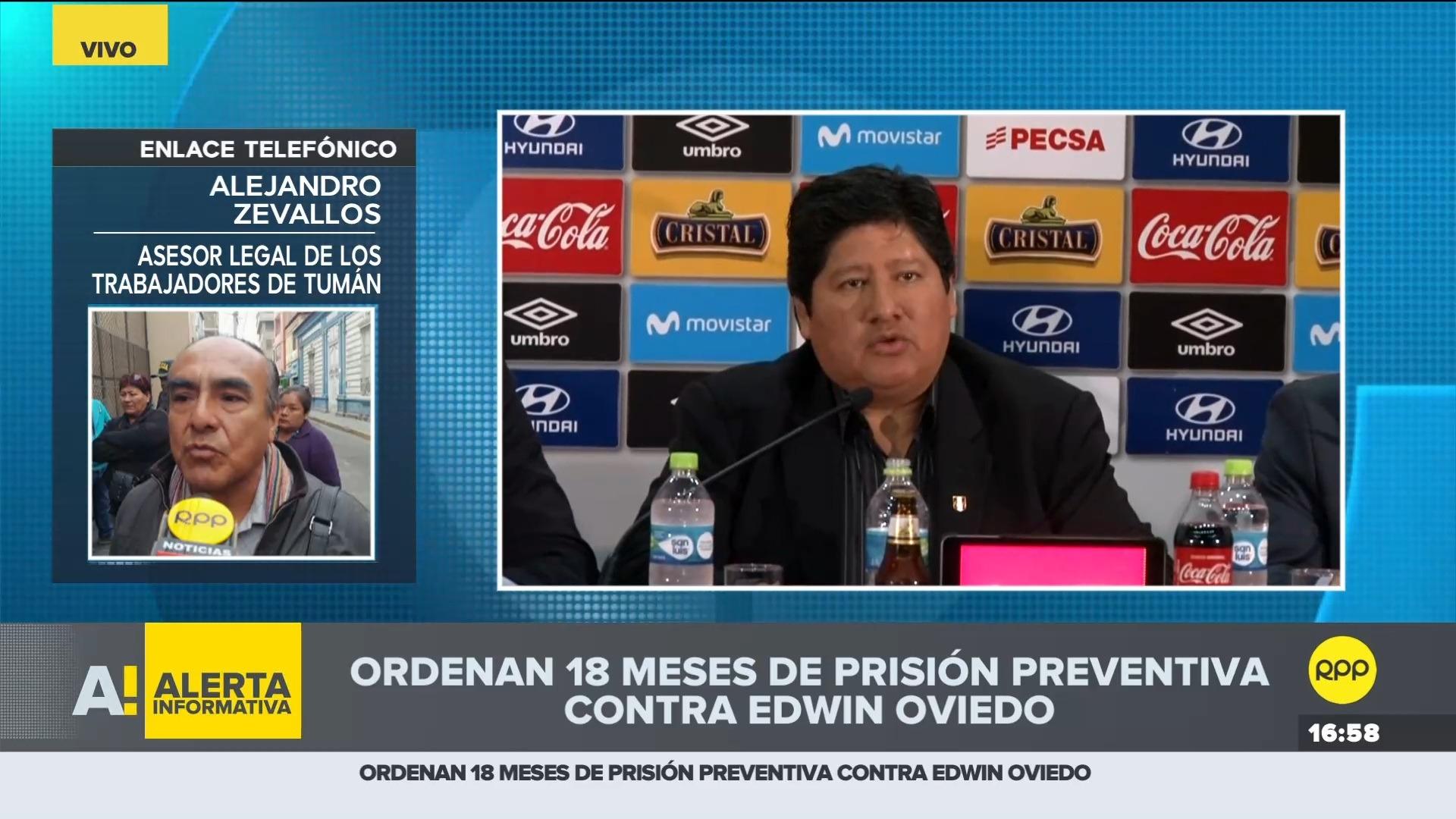 El asesor legal comentó que los pobladores de Tumán festejaron la prisión contra Oviedo.
