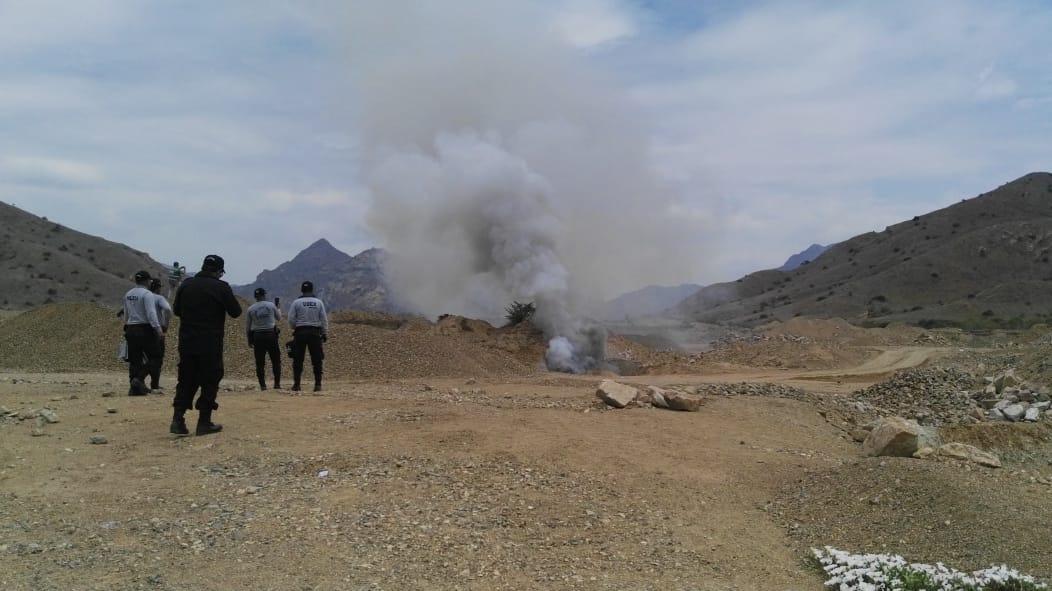 Destrucción de todo este material peligroso se realizó en las Canteras del distrito de Mesones Muro.