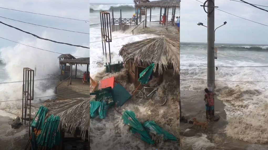 El mar arrasó con sombrillas, mesas y sillas de la playa de Mancora.
