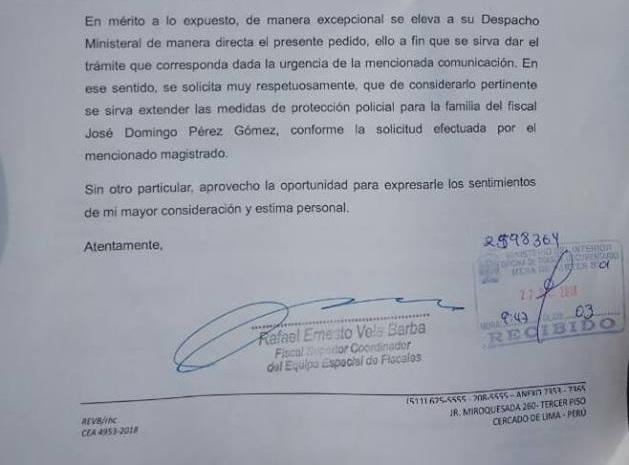 Oficio del fiscal superior Rafael Vela al Ministerio del Interior.
