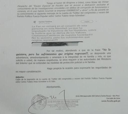 Carta del fiscal Pérez en la que solicita medidas de protección.