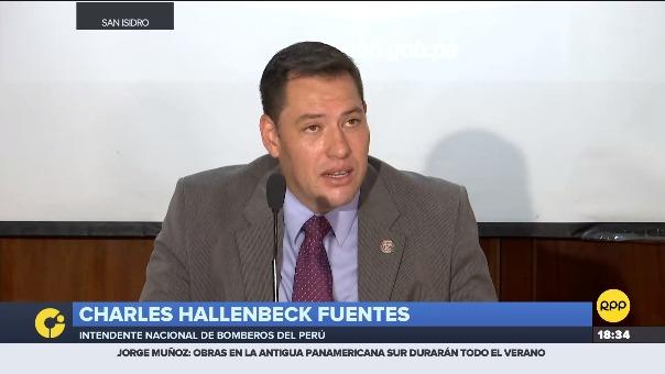 Conferencia de prensa de la Intendencia de Bomberos del Perú.