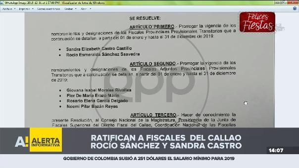 Las fiscales del Callao fueron ratificadas