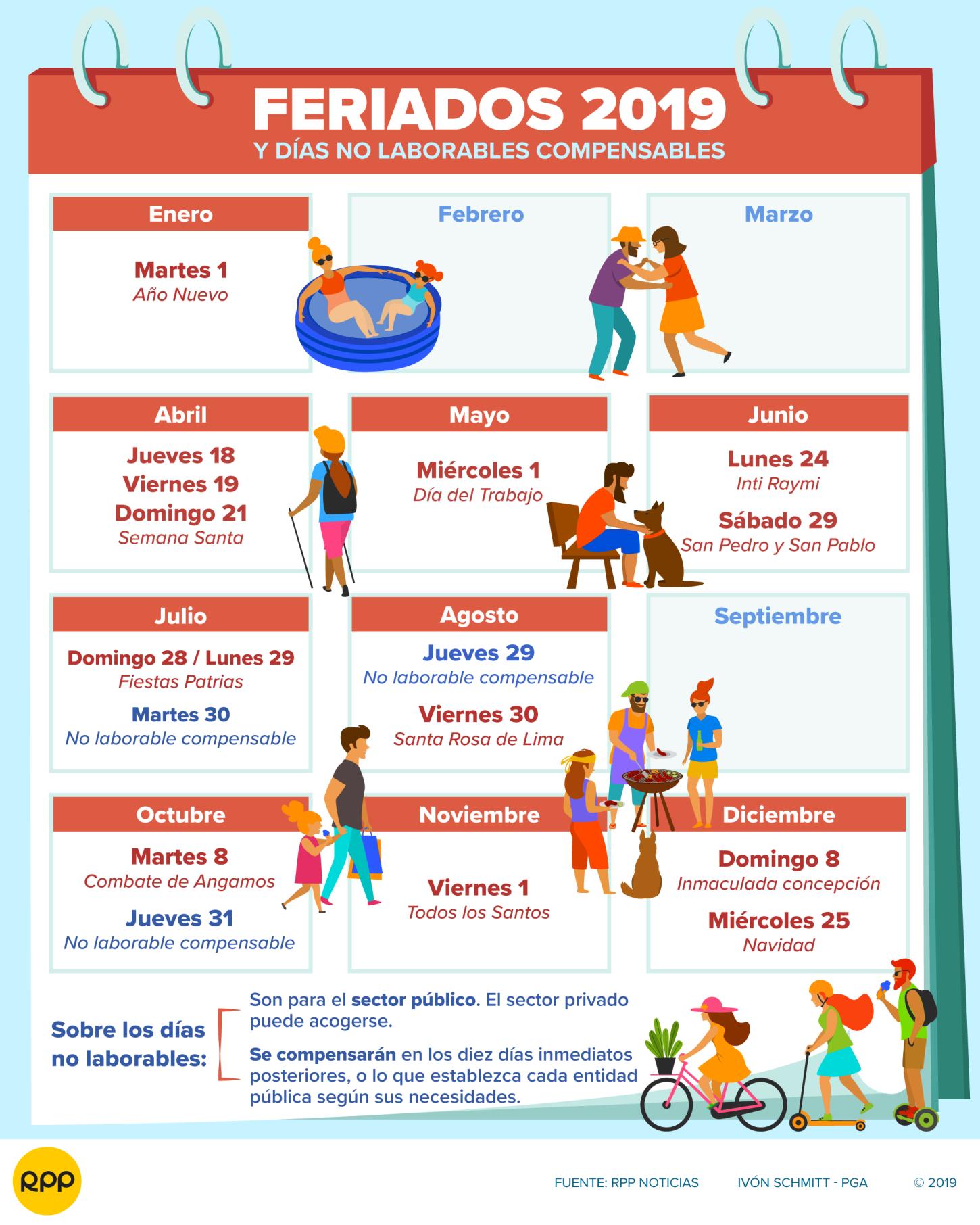 Calendario Agosto 2019 Con Feriados.Feriados 2019 Dias No Laborables Del Ano En Peru Semana