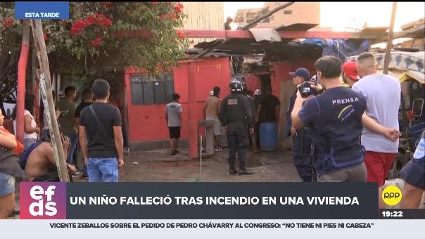 Bomberos, serenazgo y policía realizaron denodados esfuerzos para ubicar al menor. Según vecinos, una bengala habría iniciado el fuego.