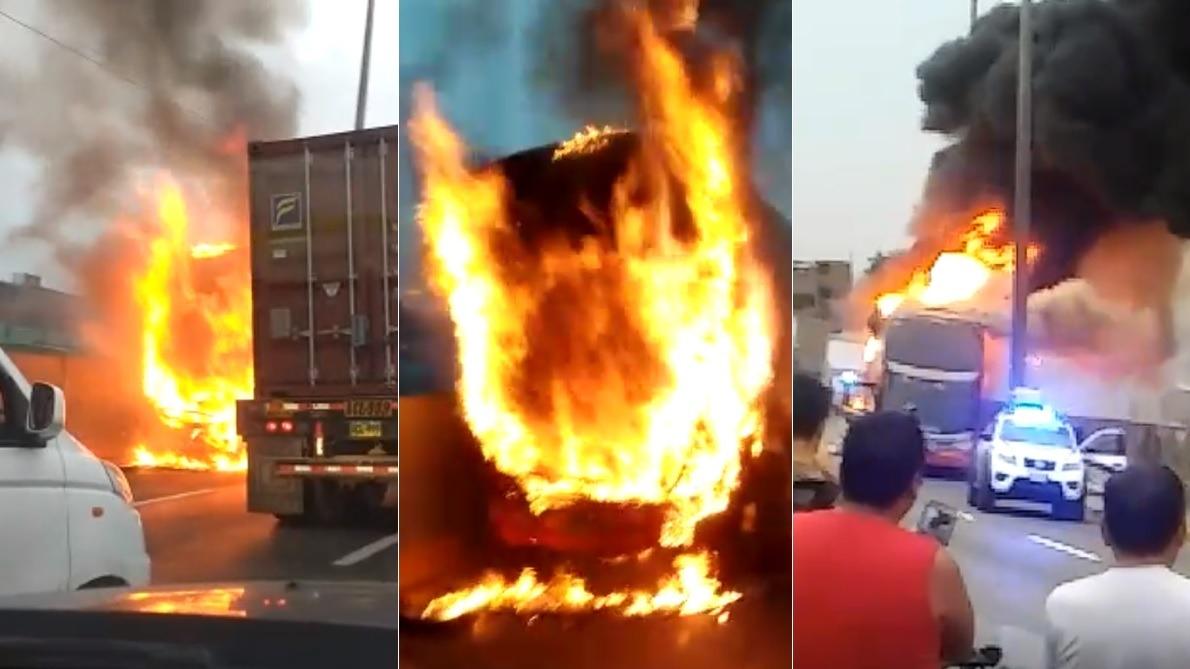 Imágenes muestran la intensidad del incendio reportado esta mañana en la Vía Evitaimento.