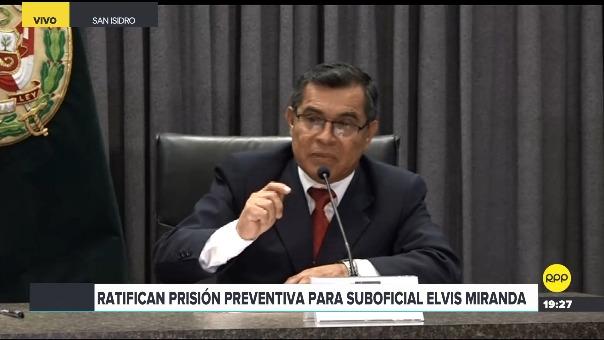 Máximo Ramírez, asesor de la Policía Nacional, en conferencia de prensa.