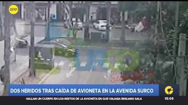 Dos heridos tras caída de avioneta en la avenida Surco